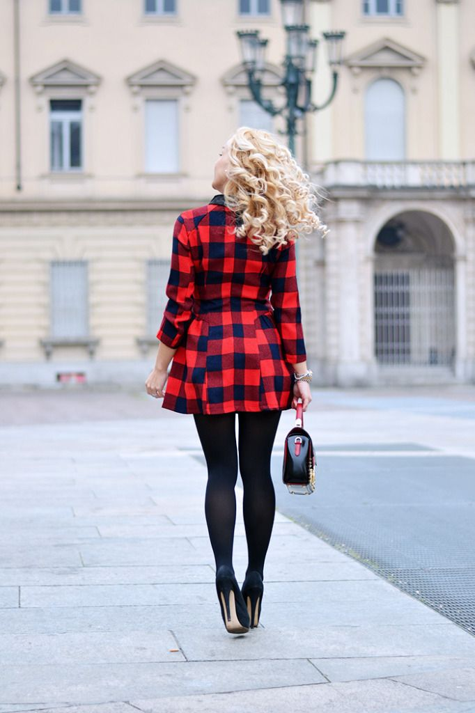 Black and red checked dress - today on my #fashionblog www.it-girl.it #fashion #look #style #outfit #ootd #fashionblog #fashionista #lookoftheday