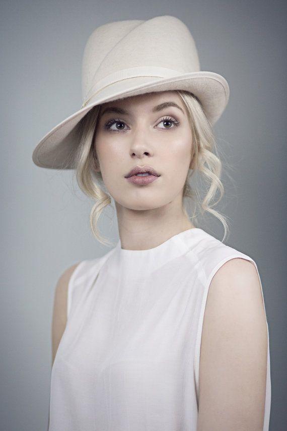 Off White Fedora Wedding Hat Elegant Winter by MaggieMowbrayHats