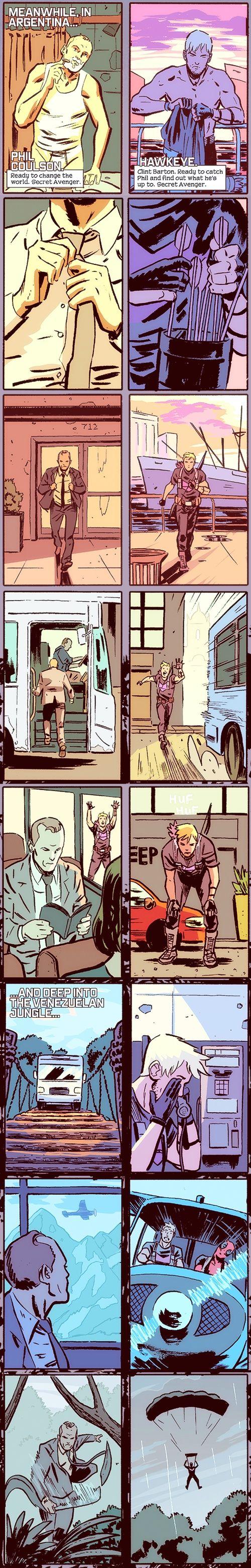 Phil Coulson, Hawkeye, Deadpool    Secret Avengers #10    art by Michael Walsh    500x3120    #comics