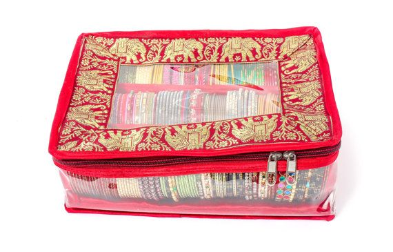 Elephant Design Bangle Box / Case With 3 Rolls by SpeakHomes