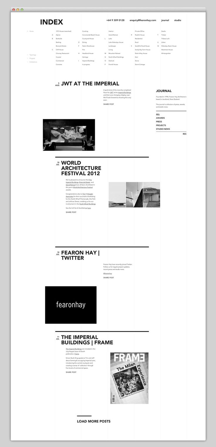 Editorial grid with great dynamism applied to web design. It reminds me of architecture magazines from the 60's.