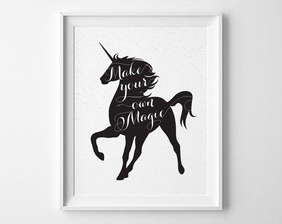 Make Your Own Magic Unicorn Print, Unicorn Silhouette Print, Black and White Modern Girls Room Decor, Speckled Pastel Teen Girl Room Decor