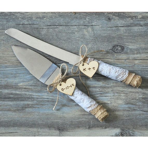 Rustic Wedding Cake Knife Set Wedding Cake by weddinghanger2015