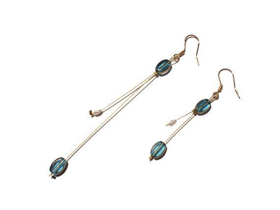 Aqua Dangle Earrings Aqua Blue Dangle by twolittlefairies on Etsy