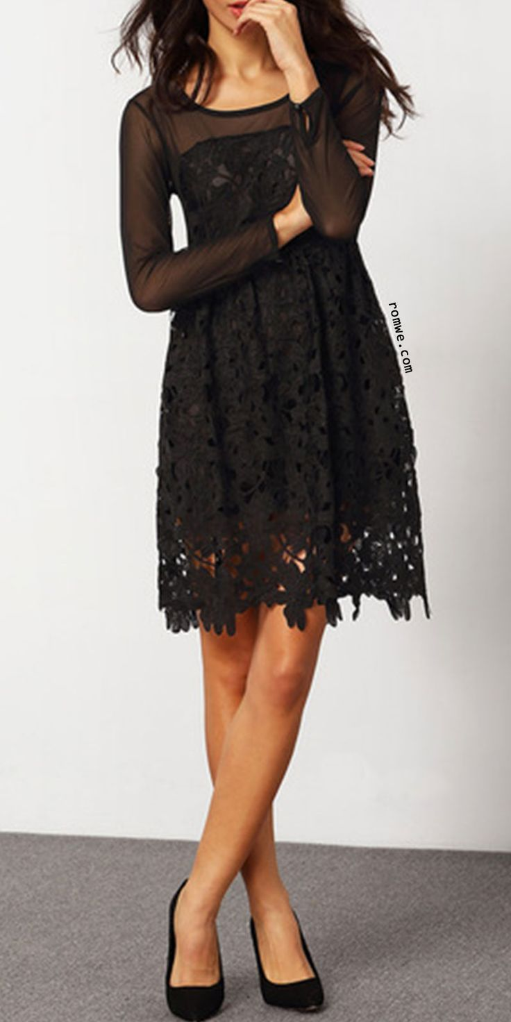 Embroidered Hollow Lace Flare Dress