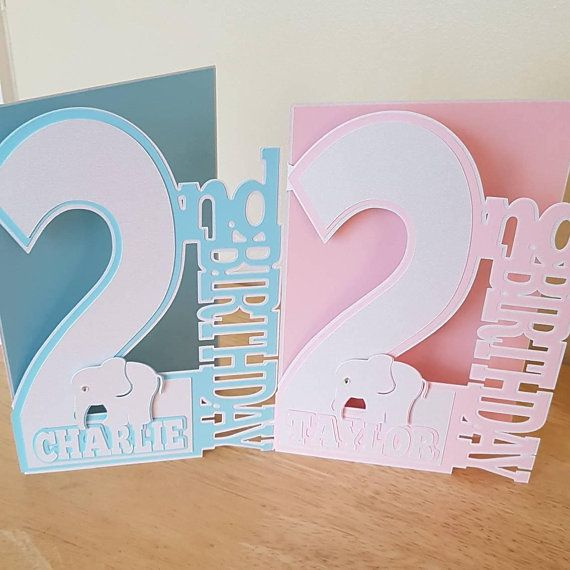 Personalised 2nd Birthday Card For Son Daughter Granddaughter Grandson Girl Boy Sister Brother Niece Nephew Large Number Two Baby Ele