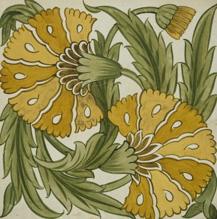 Double Carnation tile by William De Morgan   © Victoria and Albert Museum