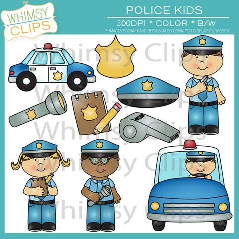 Fun police kids clip art with police officers, a police car, and more. $