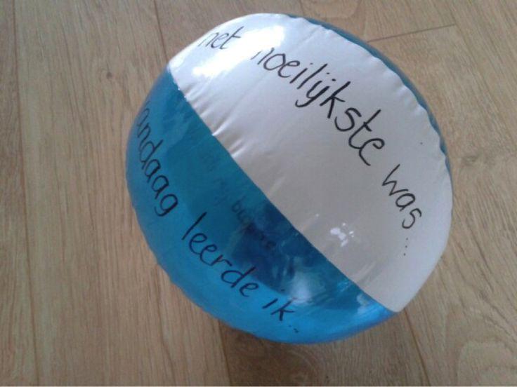 De feedback bal – Ik ben trots op….. – Nu kan ik…. – Wat ik morgen wil proberen is…. – Het leukste was…. – Vandaag leerde ik…. – Het moeilijkste was….