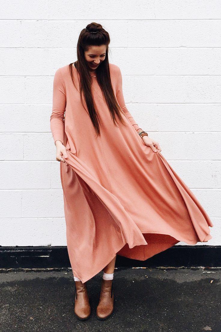 Flowing Peach Dress | ROOLEE