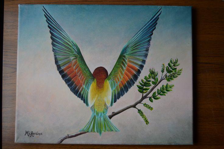 """""""La exhibición del abejaruco"""". Acrílico sobre lienzo. 28 x 35 cm."""