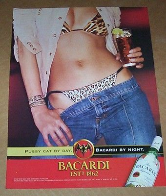 2001-ad-page-Bacardi-Rum-SEXY-girl-in-panties-jeans-pussy-cat-by-day-PRINT-AD