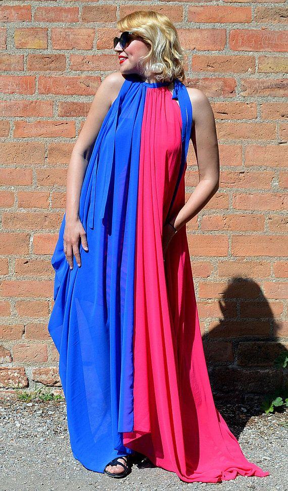 Royal Blue and Pink Summer Dress, Extravagant Flared Summer Kaftan, Asymmetrical Sheer Dress TDK255, La Dolce Vita