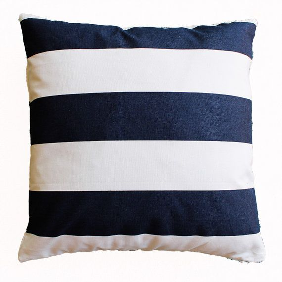 Throw Pillows Navy And White : Navy and White Striped Pillow Cover - 18