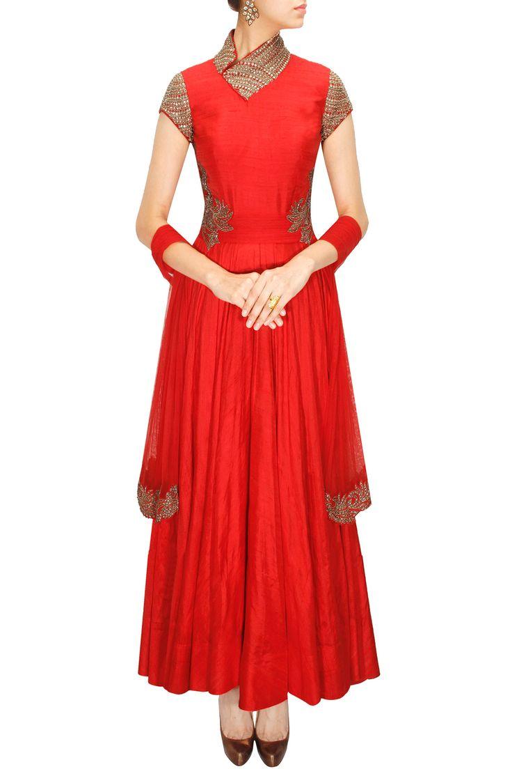 Red zari embroidered anarkali set by Ridhima Bhasin. Shop at: www.perniaspopupshop.com #anarkali #ridhimabhasin #designer #shopnow #perniaspopupshop #happyshopping.
