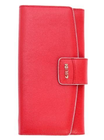 Red saffiano leather wallet. 100% Handmade in Italy from vegetable dyed Italian leather