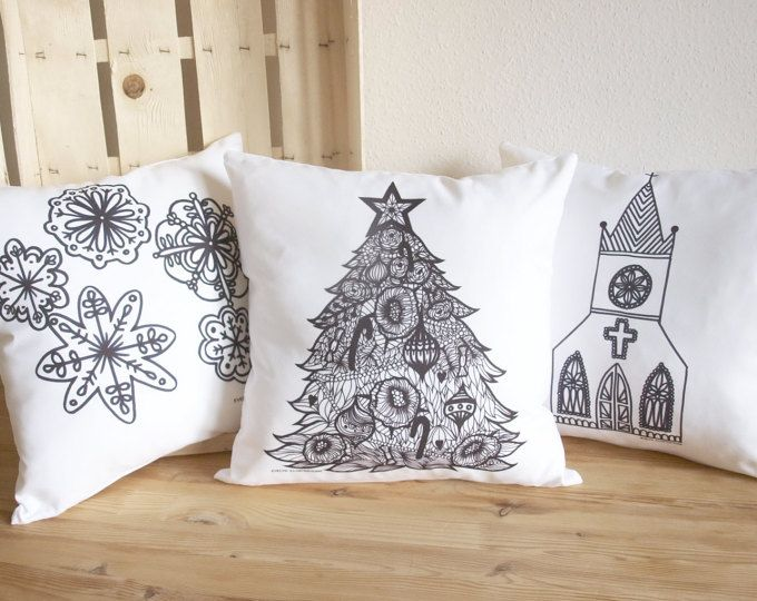 Christmas Pillows -Throw Pillow - Christmas Color Me Pillow Covers, Christmas decor, home decor, Winter pillow, cushion cover