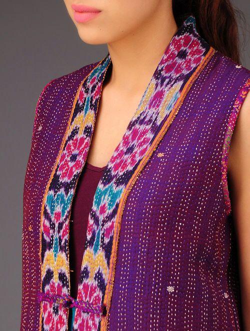 Violet-Ecru Ikat Kantha Silk Cut-Sleeves Jacket