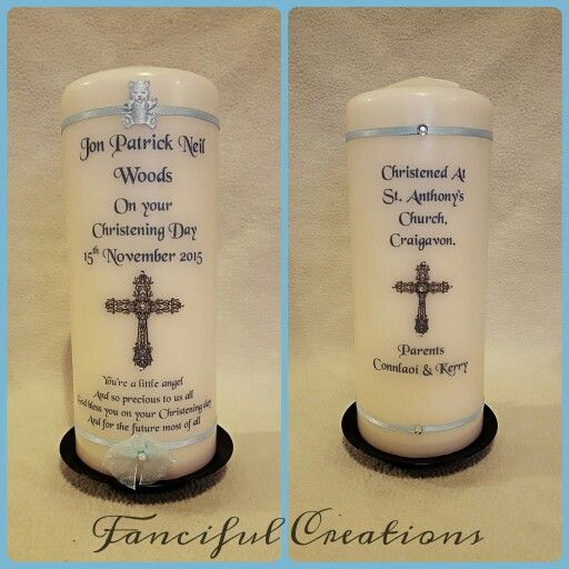 Baby boy Christening Candle.