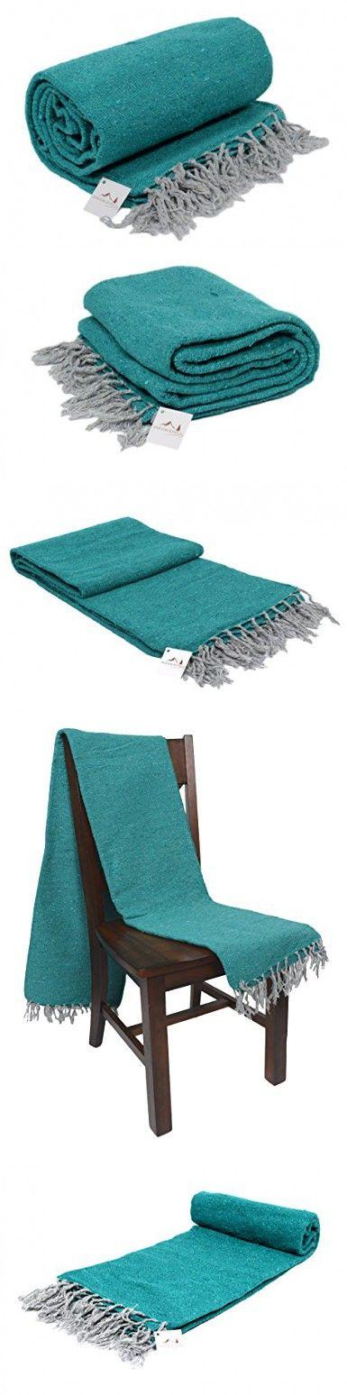 Handmade Sea Green / Turquoise Yoga Blanket -- Thick Mexican Blanket or Throw -- Made for Yoga!