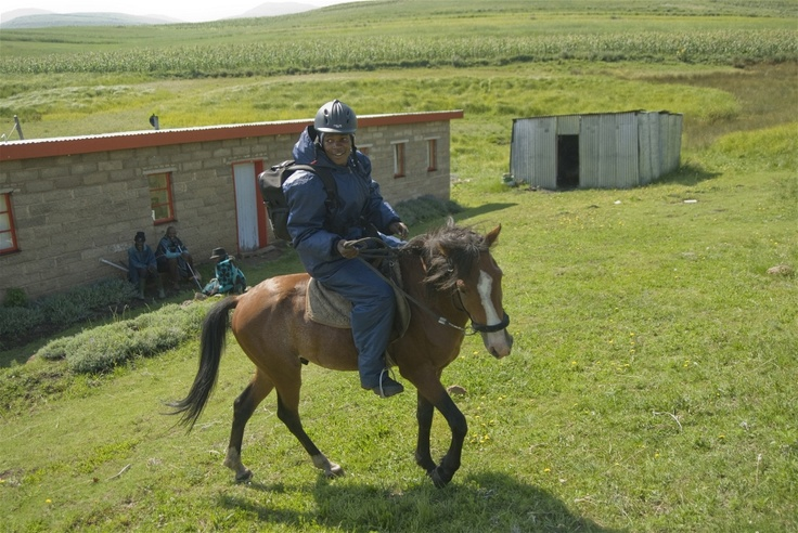 Blood samples are taken by horse from Semenanyane clinic in mountainous eastern Lesotho to an urban centre for testing