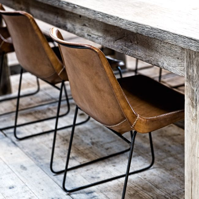 Like the ones at MIX, these modern leather chairs look best paired with a rustic or industrial table! // MIX Furniture S La Brea // MIXfurniture.com // blog.mixfurniture.com