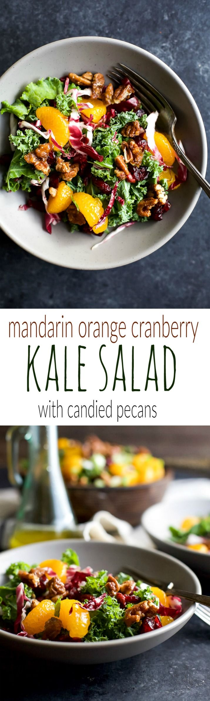 A simple KALE SALAD filled with mandarin oranges, tart cranberries and candied pecans for the perfect bite! I guarantee this salad will win over any kale hater and become a staple at your house! | http://joyfulhealthyeats.com #glutenfree