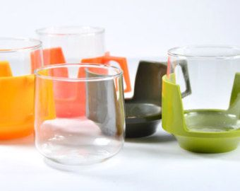 1970s Retro Pyrex Drinkups Cups for Hot Drinks Glass Cups Yellow Green Orange Mugs Heat Proof Mug
