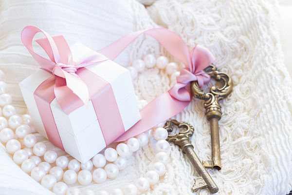 Gift box and keys with pearl jewellery and lace by Anastasy Yarmolovich #AnastasyYarmolovichFineArtPhotography  #ArtForHome #vintage