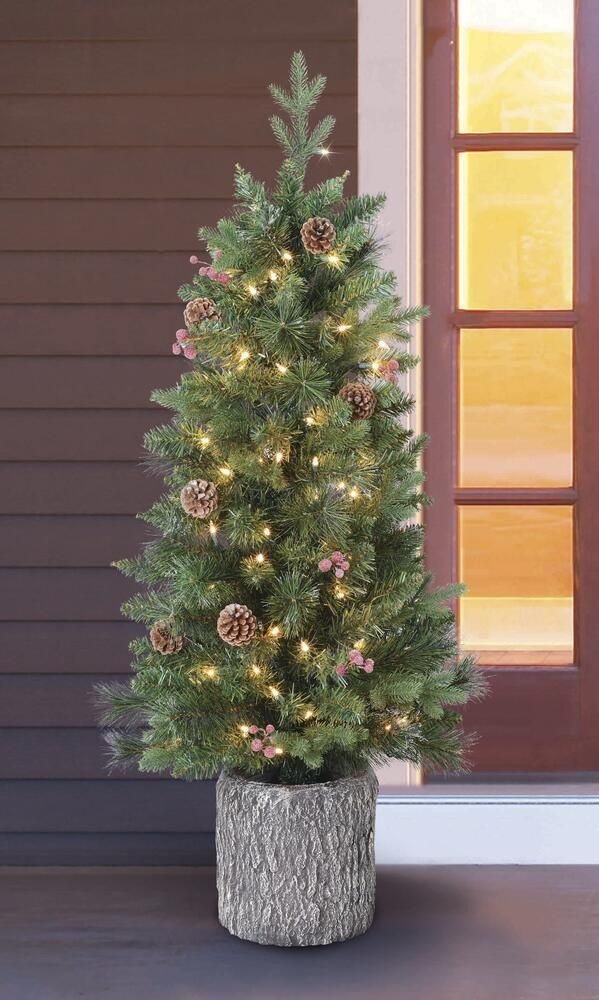 Enchanted Forest 4 Prelit Decorated Artificial Porch Christmas Tree At Menards Porch Christmas Tree Christmas Tree Christmas Decorations