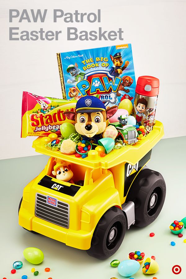 Here's a creative way to get the children pumped up for the Easter bunny: Gather up their favorite candy and toys in a totally unique basket substitute, like this toy truck filled with PAW Patrol awesomeness.