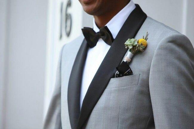 Grey Tuxedo With Black Lapel Groom Style Pinterest