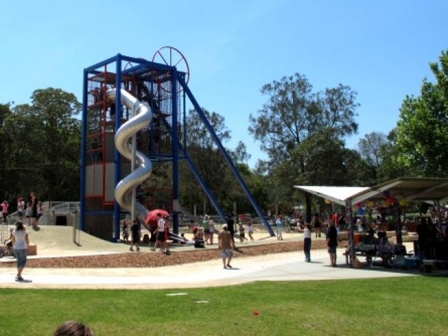 Warners Bay Foreshore Shared Pathway - its 9km each way and follows the lake - its all flat with lots of amenities on the way and even boasts one of the biggest playgrounds in NSW on the way - the Variety Playground pictured here.