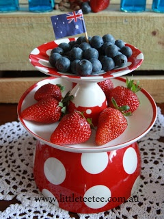 Fruit platter for Australia Day using upturned cups & saucers & egg cups!
