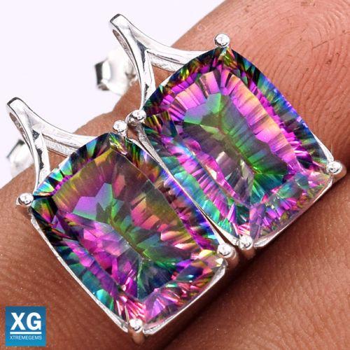 Rainbow-Topaz-925-Sterling-Silver-Stud-Earrings-Jewelry-SE36345