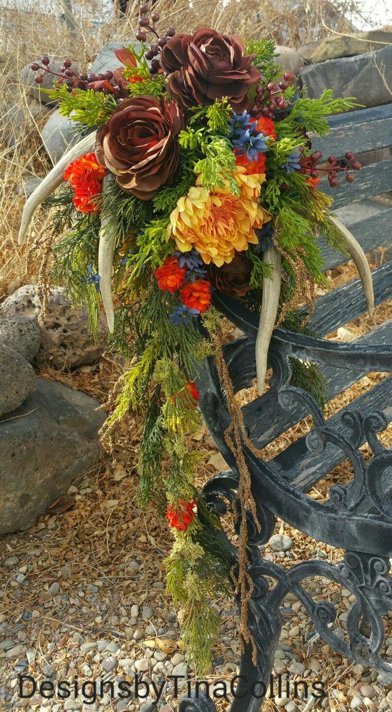 Cascading Fall Antler Wedding Bouquet