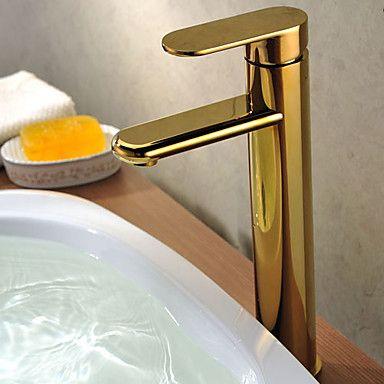 Sola manija de latón macizo Ti-PVD Acabado grifo del fregadero cuarto de baño (Tall) – SEK Kr. 1,432