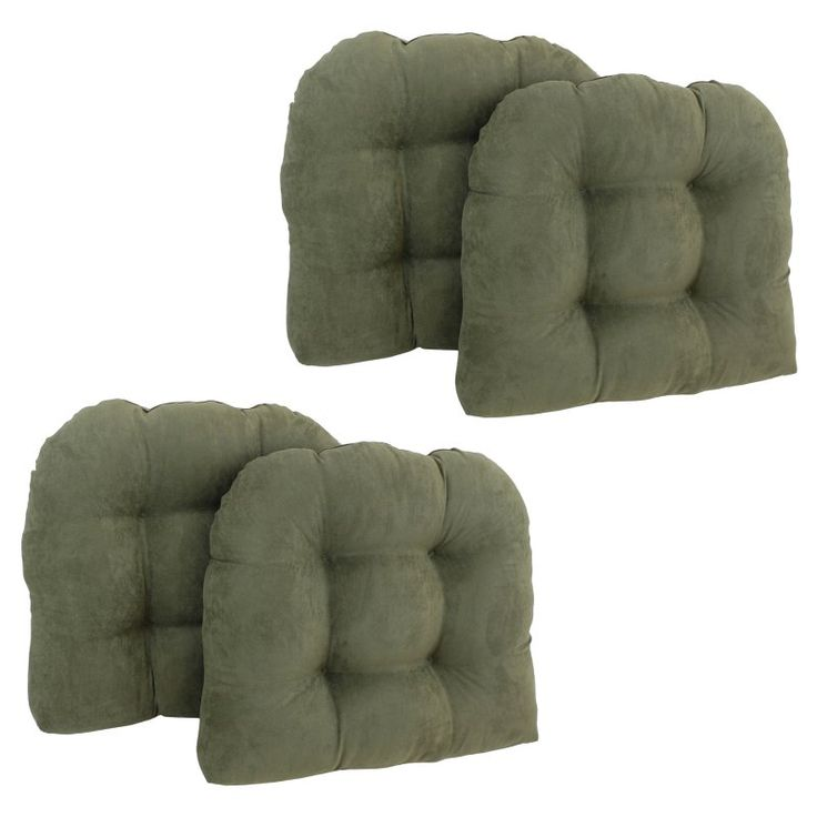 Blazing Needles Microsuede U Shaped Indoor Chair Cushion   Set Of 4    93184 4CH MS AB
