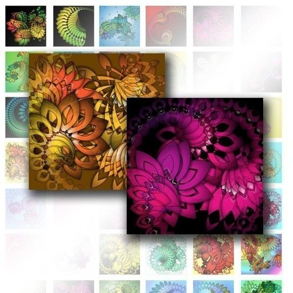 Digital collage sheet 1x1 digital collage sheets Colorful abstract swirls scrabble tile jewelry making paper supplies