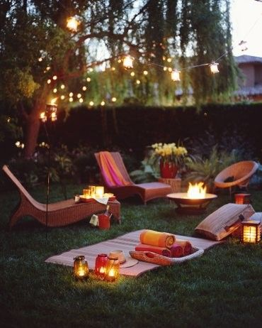 Lounge chairs in the garden at night