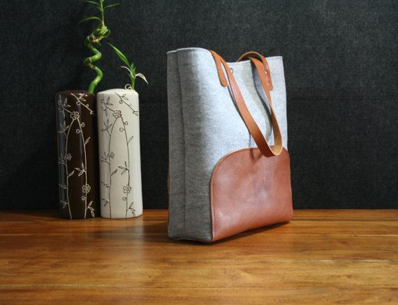 Leather tote bag handmade bagfelt bagfelt & by AlmaHandmadeInMilan