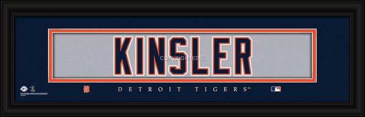 "Ian Kinsler Detroit Tigers Player Stitched Jersey 8"" x 24"" Framed Print"