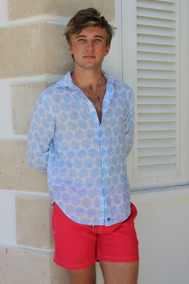 86ff76adc538a Mens Linen Shirt : CACTUS - BLUE in 2018 | 2018 Collection | Pinterest |  Shirts and Collection
