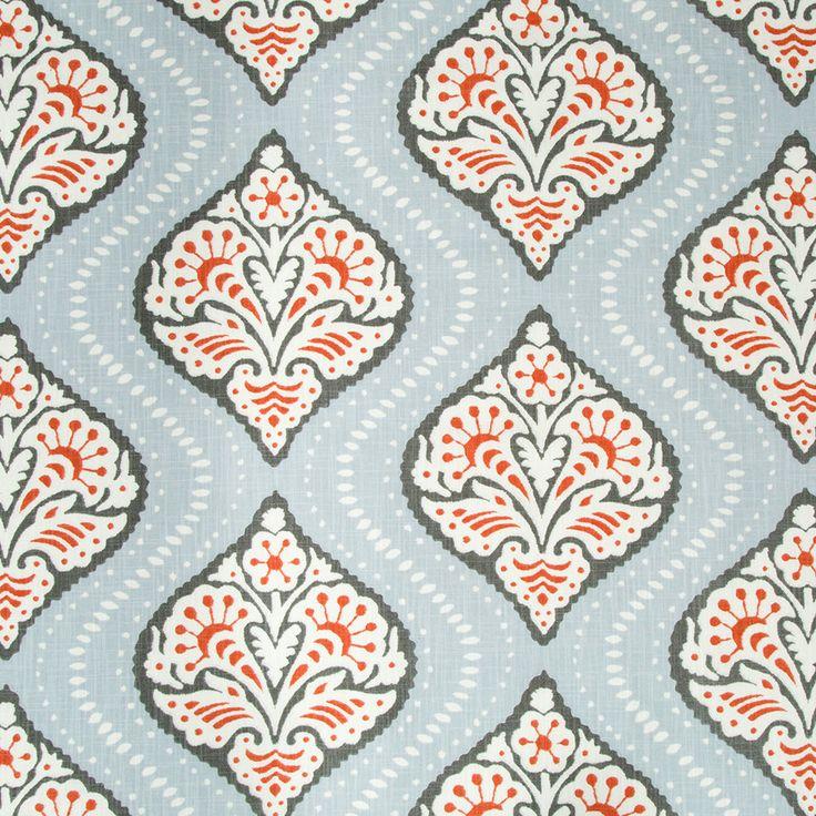 Coral Grey Trellis Upholstery Fabric Light by PopDecorFabrics