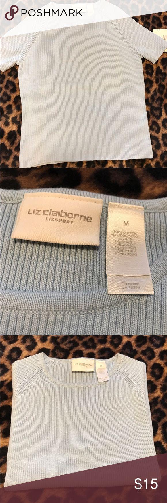 Liz Claiborne Lizsport baby blue shirt Short sleeve ribbed sweater.  100% cotton Liz Claiborne Tops Blouses