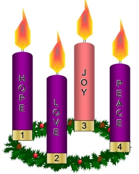 Advent wreath: A circle of evergreen branches decorated with four candles and bows that represent the weeks of Advent. Three candles are purple and one is pink. Each Sunday of Advent an additional candle is lit and prayers are said. The pink candle is lit on the Third Sunday to express joy that Christmas is near. www.paulinemedia.org