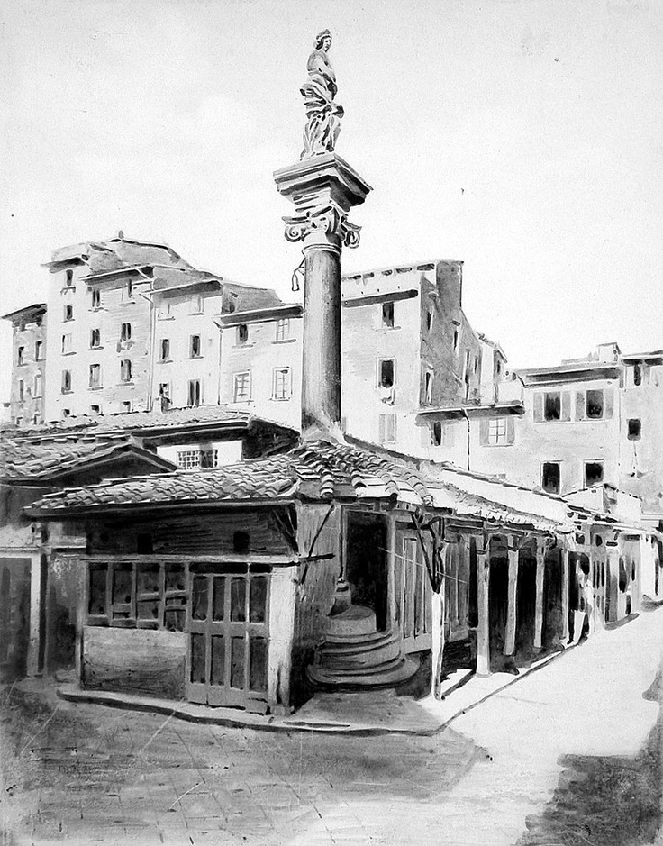 1880: Colonna dell'Abbondanza in Piazza del Mercato Vecchio (old market), now Piazza della Repubblica. You can note that the column was surrounded by the old meatpacking buildings of the market. Note the typical skyline from the middle age...