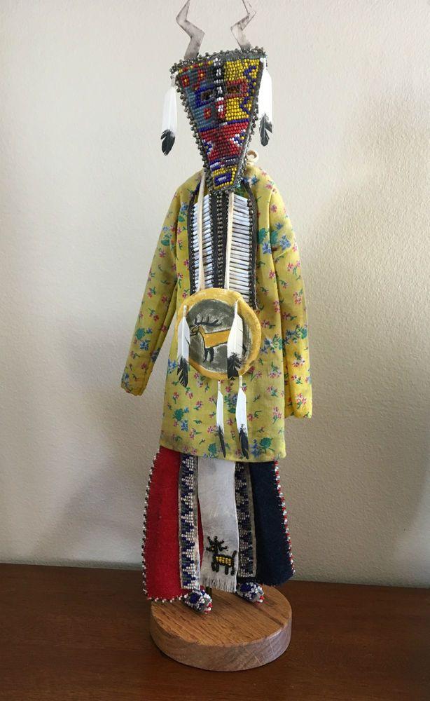 Lakota Native American Doll - Elk Mask - Amazing Beadwork - James Little Wounded