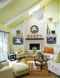Designer media rooms ceilings slanted ceiling and - How high to hang tv in living room ...