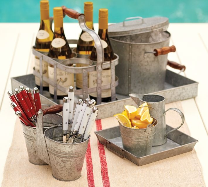 Galvanized Serving Pieces With Wine And Utensil Caddies
